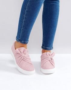 Розовые трикотажные кеды-слипоны с перекрутом Glamorous - Розовый