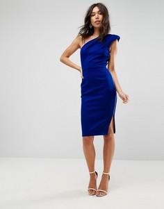 Платье миди на одно плечо с подплечником ASOS - Синий