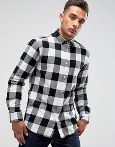 Узкая рубашка в клетку Only & Sons - Черный