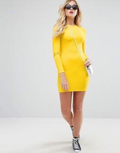Облегающее платье мини в рубчик с длинными рукавами ASOS - Желтый
