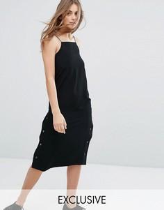 Платье-комбинация с кнопками сбоку Monki - Черный