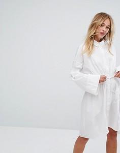 Платье-рубашка с поясом Monki - Белый