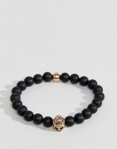 Черно-золотистый браслет из бусин Seven London - Черный