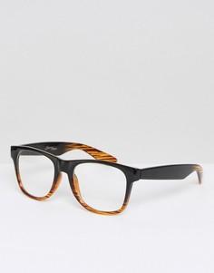 Квадратные очки в черно-коричневой оправе с прозрачными стеклами Jeepers Peepers - Черный