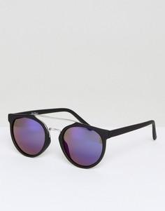 Черные круглые солнцезащитные очки с синими стеклами Jeepers Peepers - Черный