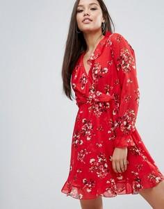 Платье с длинным рукавом, запахом и оборками Boohoo - Мульти