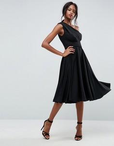 Платье миди на одно плечо для выпускного с поясом ASOS - Черный