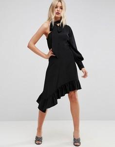 Чайное платье миди с одним рукавом и завязкой на шее ASOS - Черный