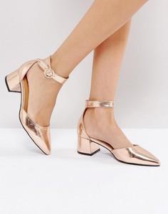 Босоножки на каблуке с пряжками и ремешком на щиколотке RAID - Золотой