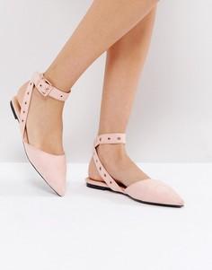 Розовые туфли на плоской подошве с ремешком на щиколотке RAID - Бежевый