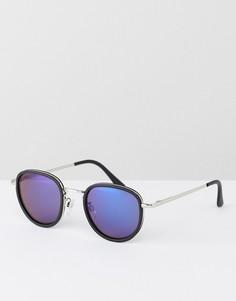Круглые солнцезащитные очки с синими зеркальными стеклами AJ Morgan - Черный