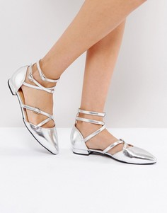 Серебристые туфли на плоской подошве с ремешками крест-накрест RAID Marci - Серебряный