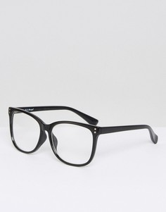 Круглые очки в черной оправе с прозрачными стеклами AJ Morgan - Черный