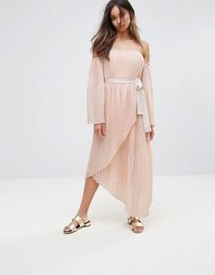 Платье миди с рукавами клеш и открытыми плечами Isla Valentine - Розовый