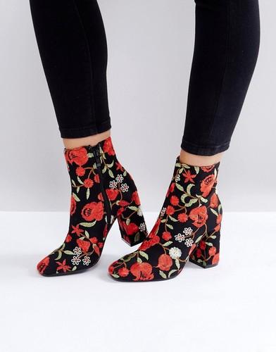 Ботильоны на каблуке с вышивкой Public Desire Cleo - Красный