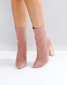 Розовые ботильоны на каблуке с эффектом трещин Public Desire - Розовый