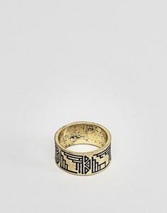 Золотистое кольцо с ацтекскими узорами ASOS - Золотой