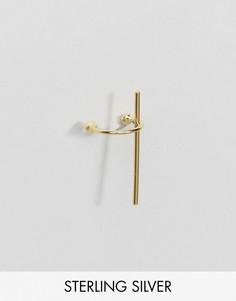 Позолоченный серебряный кафф с планкой ASOS - Золотой