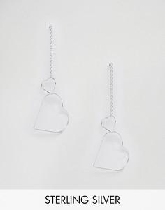 Серебряные серьги с сердцем ASOS - Серебряный