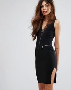 Платье-футляр на молнии Sisley - Черный
