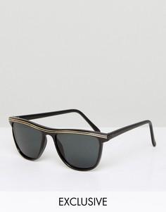 Черные квадратные солнцезащитные очки с золотистой отделкой Reclaimed Vintage Inspired - Черный