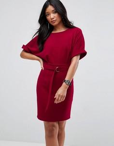 Платье-футляр мини с поясом и D-образным кольцом ASOS Ultimate - Красный