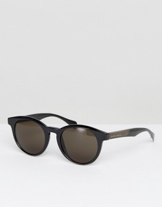 Черные круглые солнцезащитные очки BOSS By Hugo Boss - Коричневый