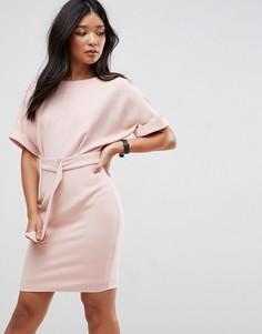 Платье-футляр мини с поясом и D-образным кольцом ASOS Ultimate - Розовый