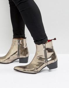 Ботинки на молнии с эффектом металлик Jeffery West Sylvia - Серебряный