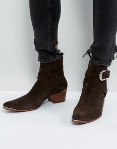 Коричневые замшевые ботинки с пряжкой Jeffery West Murphy - Коричневый