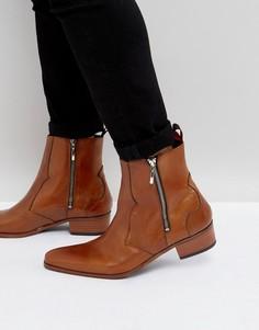 Светло-коричневые кожаные ботинки броги с молниями Jeffery West Carlito - Рыжий