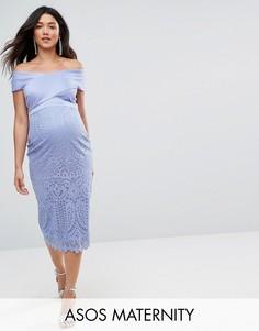 Платье миди с кружевной юбкой ASOS Maternity - Синий