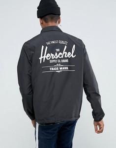 Черная складывающаяся спортивная куртка с логотипом на спине Herschel Voyage эксклюзивно для Великобритании - Черный