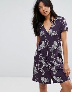 Платье на пуговицах с цветочным принтом JDY - Черный