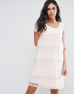 Свободное кружевное платье Vila - Розовый