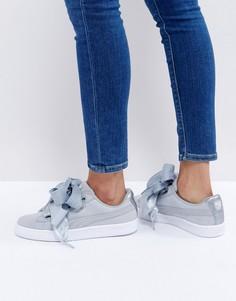 Серые кроссовки с отделкой металлик Puma Basket Heart - Серый