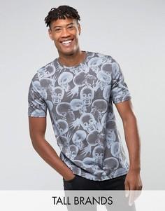 Свободная футболка с черепами Noose & Monkey TALL - Серый