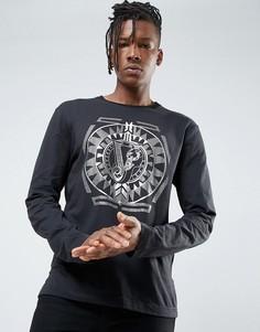 Черный лонгслив с принтом Versace Jeans - Черный