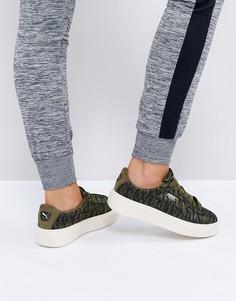 Кроссовки на платформе цвета хаки с принтом Puma Basket - Зеленый