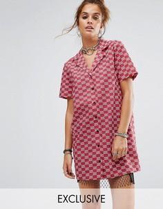 Платье-рубашка с короткими рукавами Reclaimed Vintage Inspired - Красный