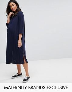 Платье-рубашка миди Bluebelle Maternity - Темно-синий