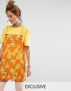 Платье-футболка с кружевной отделкой Reclaimed Vintage - Желтый
