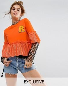 Свободная футболка с нашивкой и пайетками Reclaimed Vintage Inspired - Оранжевый