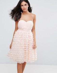 Платье для выпускного с цветочной аппликацией Little Mistress - Бежевый