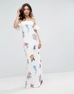 Платье-бандо макси с цветочным принтом City Goddess - Белый