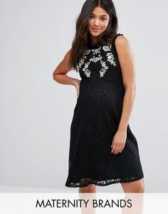 Кружевное короткое приталенное платье с вышивкой New Look Maternity - Черный