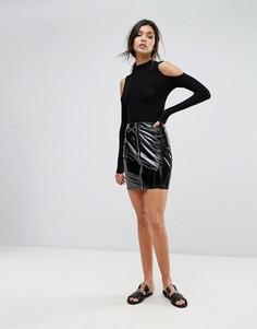 Виниловая юбка на молнии спереди Parisian - Черный