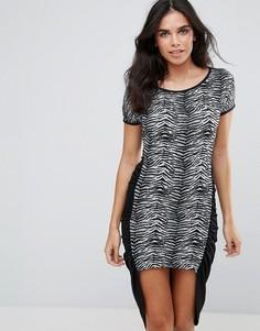 Асимметричное облегающее платье с принтом зебра Pussycat London - Черный