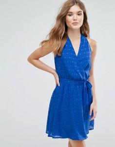 Фактурное платье миди с запахом и поясом Lavand - Синий