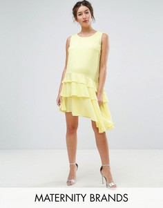 Платье мини с асимметричной оборкой по краю Queen Bee Maternity - Желтый